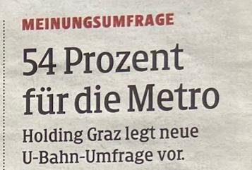 U-Bahn Graz Meinungsumfrage