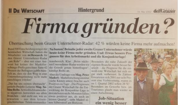 Umfrage Firma gründen meinungsforschung Graz Radar