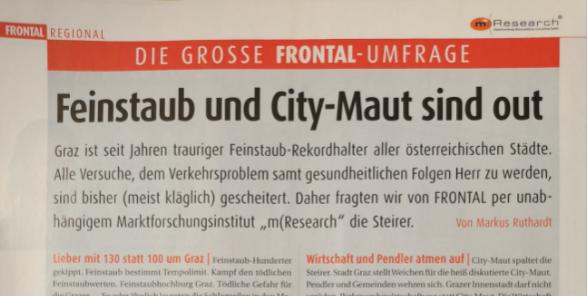 Frontal Umfrage Feinstaub Meinungsumfrage Graz