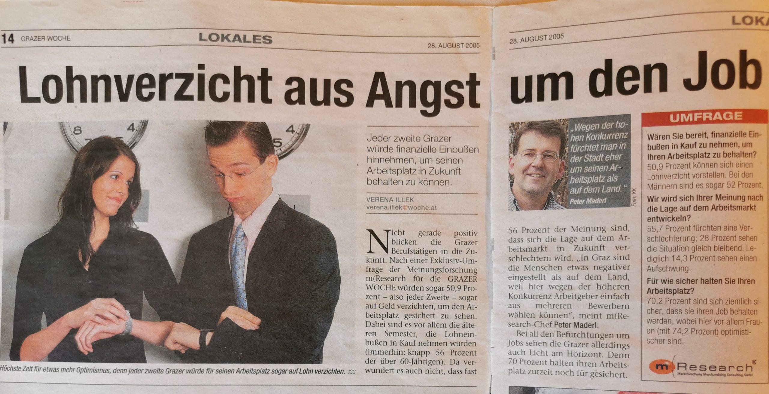 Lohnverzicht aus Angst um Job Umfrage Graz