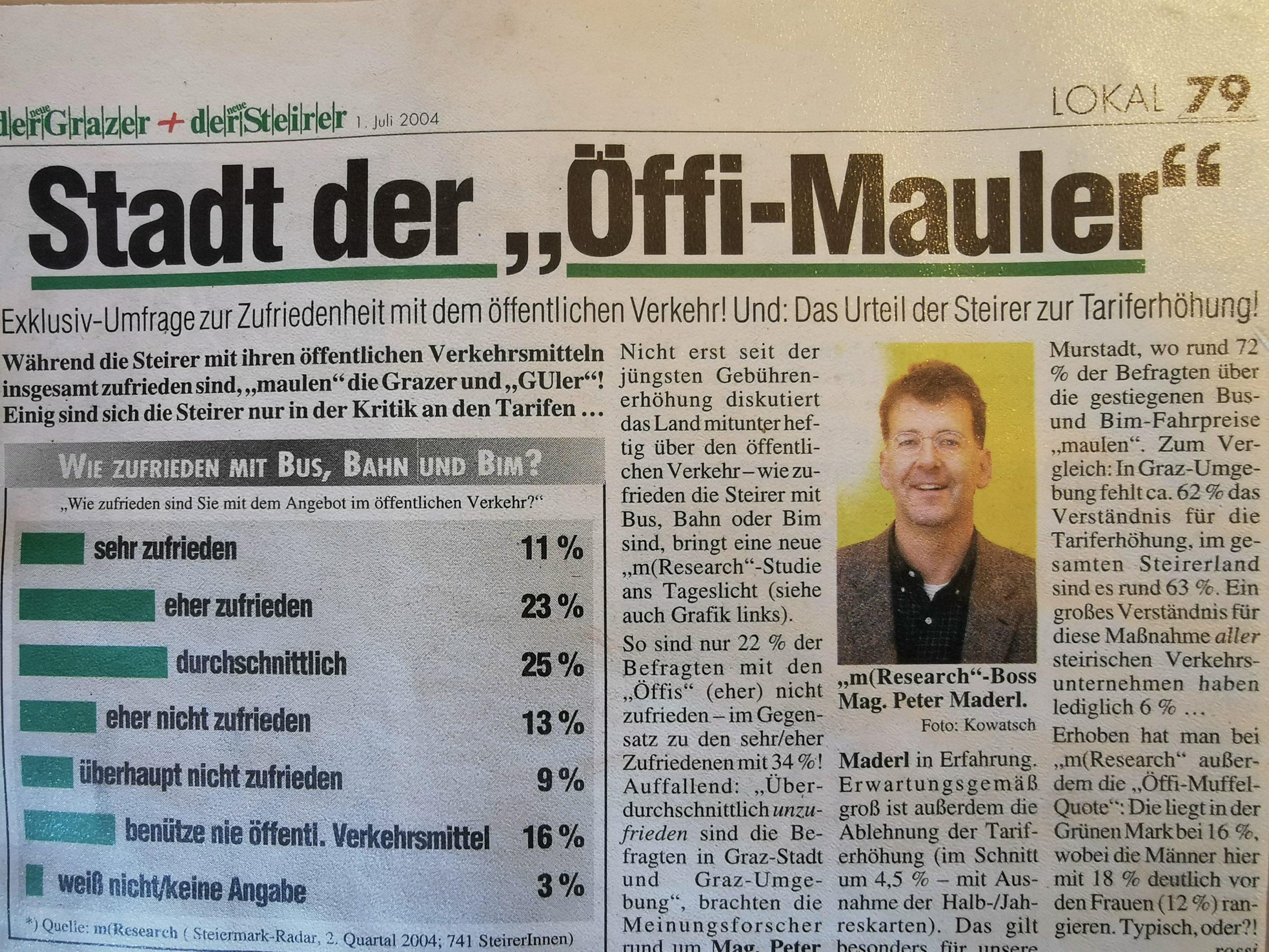 Umfrage öffentlicher Verkehr Graz Meinungsforschung Österreich
