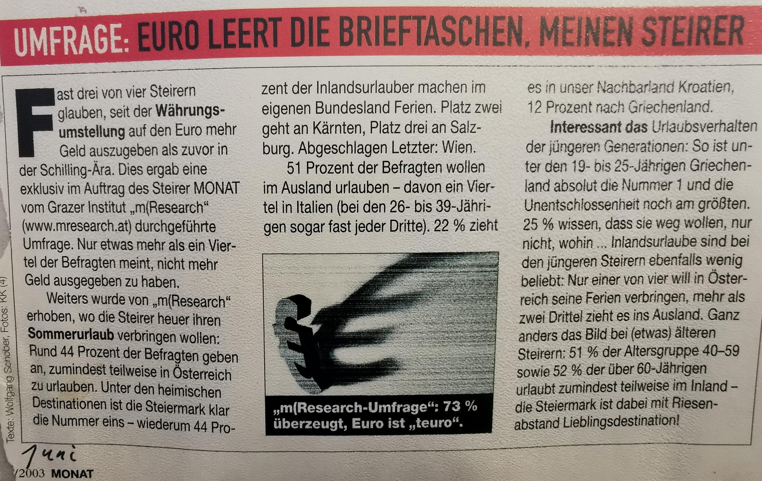 Umfrage Steirer Euro Währungsumfrage